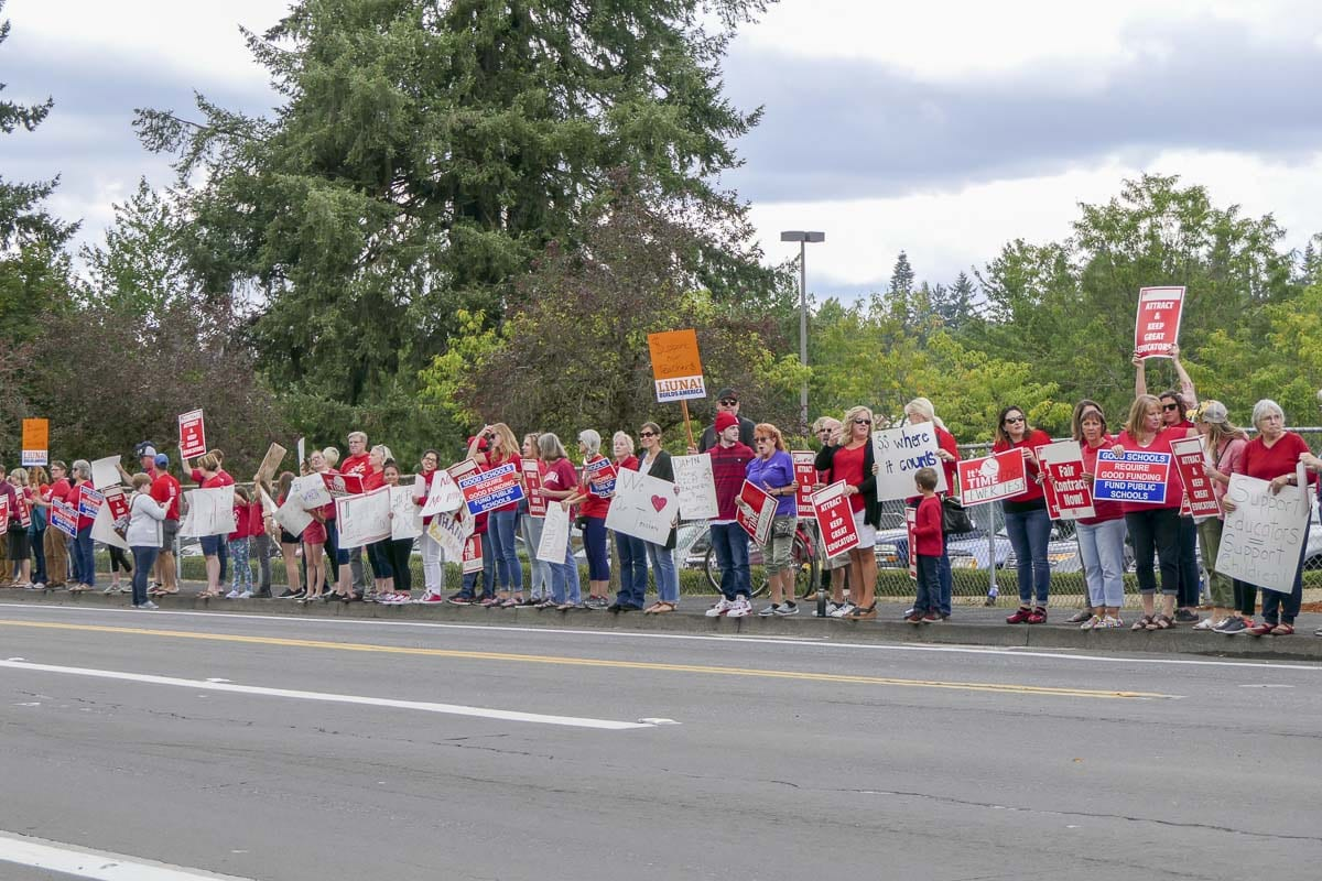 Vancouver teachers rally in August while on strike. Photo by Chris Brown