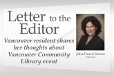 Letter: Vancouver resident shares her thoughts about Vancouver Community Library event