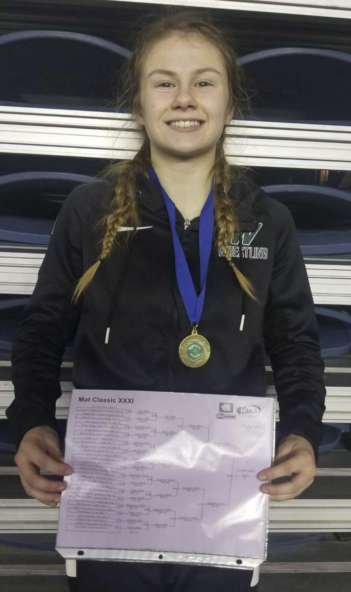 Woodland's Ashlyn Daugherty became the first girl from the school to claim a state wrestling title. Her senior year, she always was talented, but this season she found the right mental approach to dominate in her sport. Photo courtesy Woodland athletics