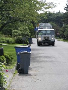 A garbage collection truck is shown here on its route in Vancouver. Photo courtesy Waste Connections of Washington