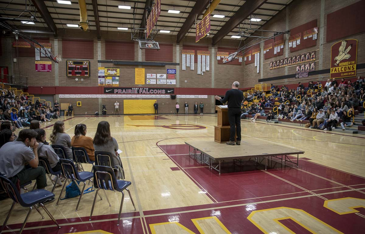 Jamie Winship, a retired CIA operative and Metro DC police officer, speaks on finding your true identity at Prairie High School's Inspire Week assembly. Photo by Jacob Granneman