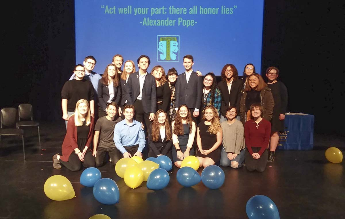 Ridgefield High School's Thespian Society recently welcomed six new inductees to the troupe at their mid-year induction on Jan. 10. Photo courtesy of Ridgefield School District