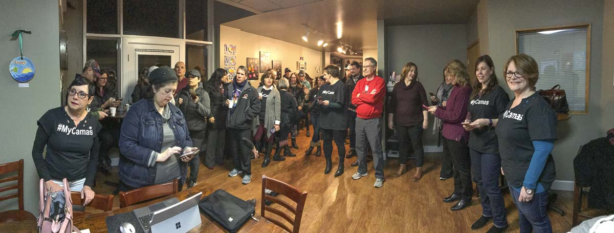 A crowd at Caffe Piccolo in Camas awaits the announcement that the city of Camas had qualified for the Top 6 Towns in the Small Business Revolution Main Street competition. Photo courtesy of the Downtown Camas Association