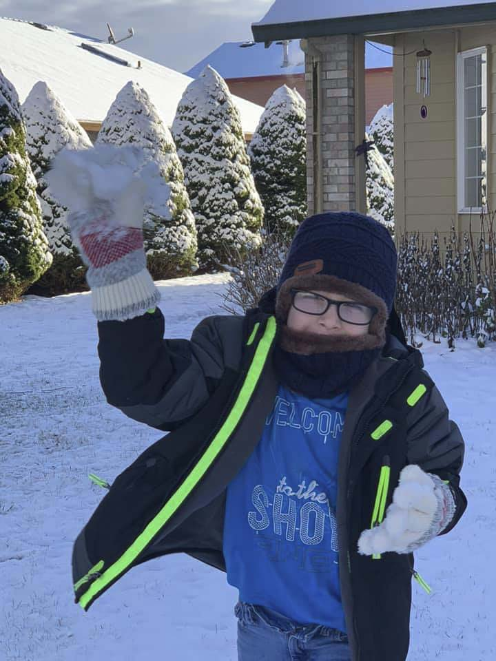 Duck! Sharlene Adams braved a snowball from her son Kaden to send us this fun photo. Photo courtesy of Sharlene Adams
