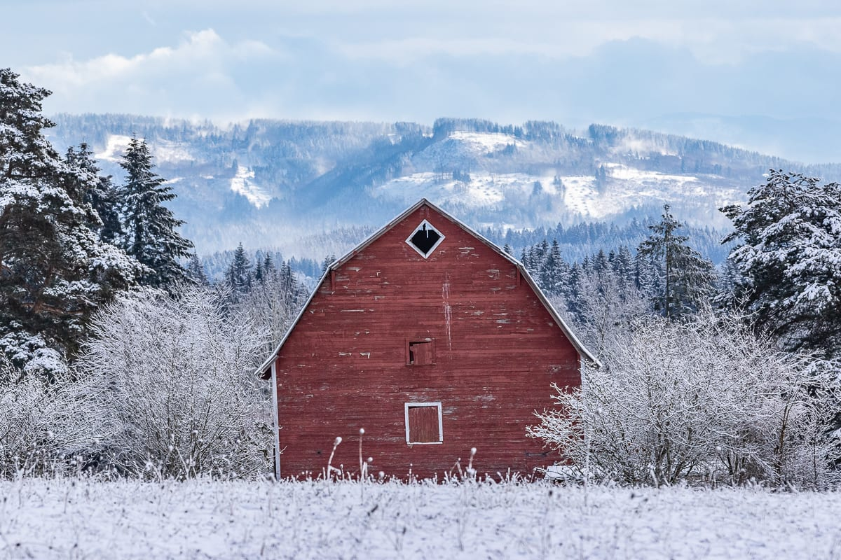 A barn in Ridgefield in the snow. Photo by Mike Schultz