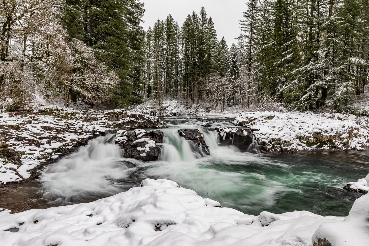 Upper Lucia Falls covered in snow. Photo by Mike Schultz