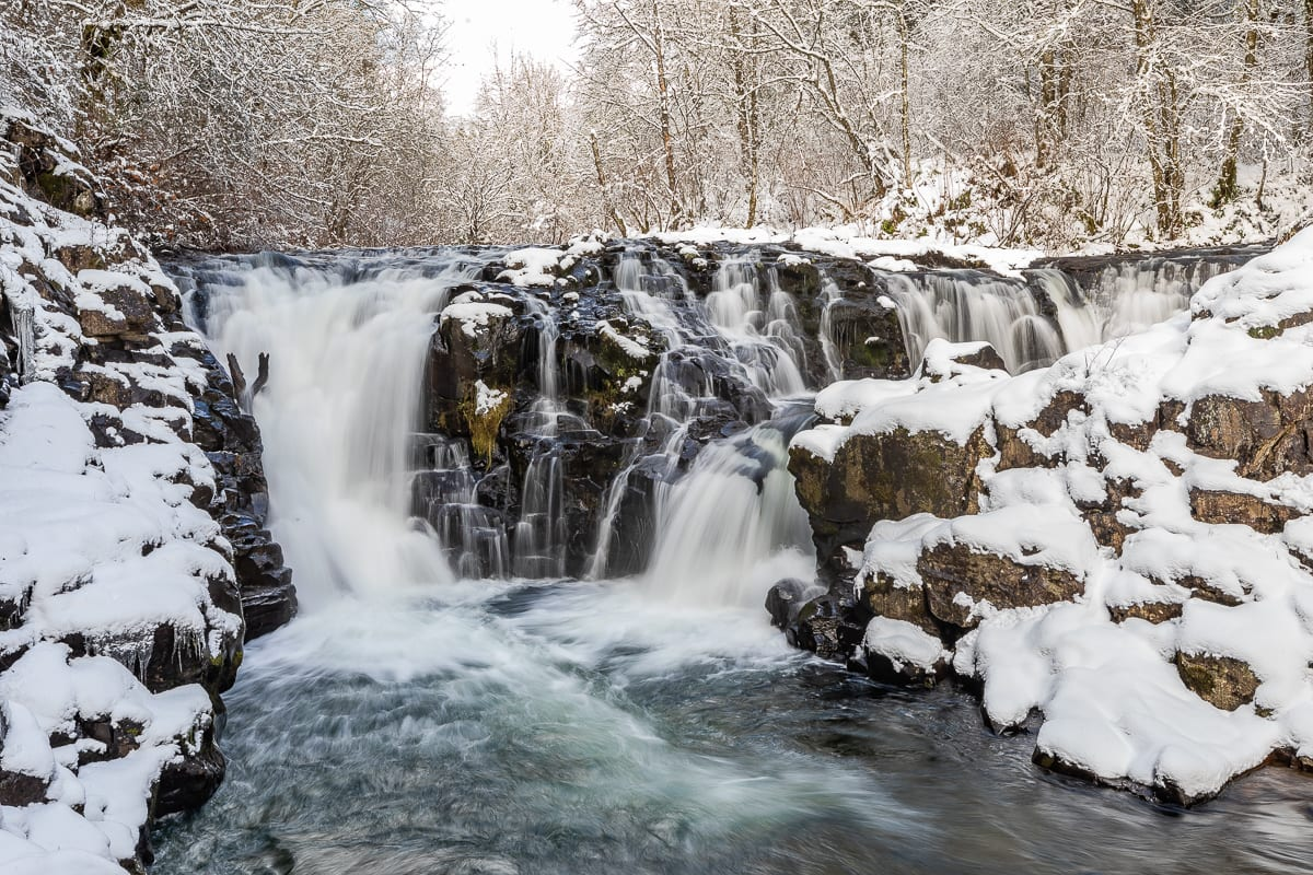 Moulton Falls in North Clark County covered by snow. Photo by Mike Schultz