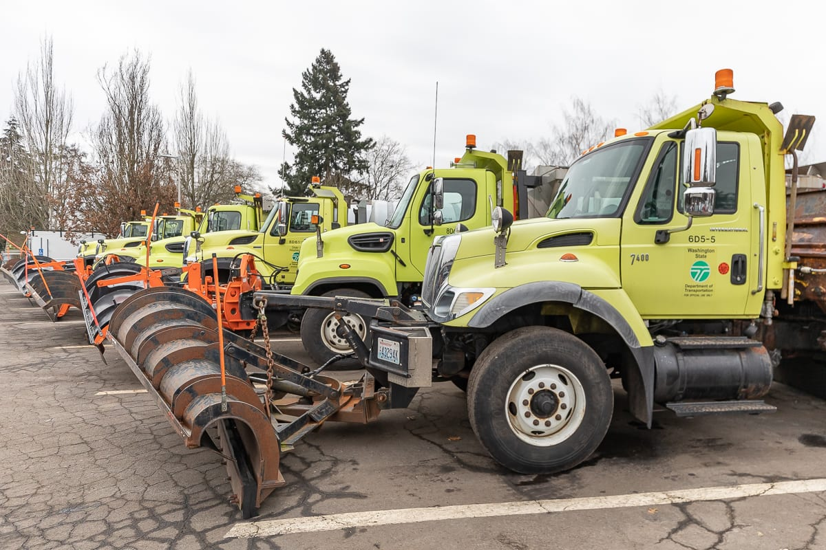 WSDOT snow plows stand ready to respond as snow approaches Clark County. Photo by Mike Schultz