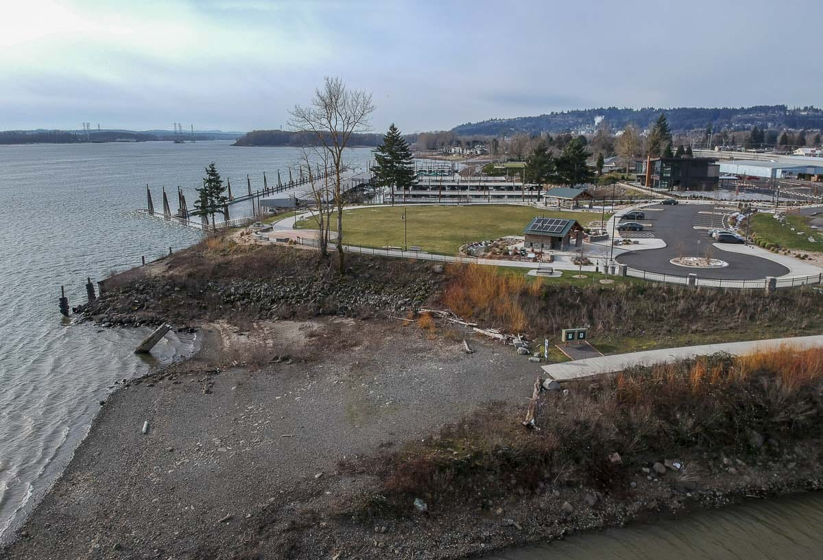 An aerial view of the most recently developed Waterfront Park, just east of the marina. The surrounding area is what will become the Port of Camas-Washougal's new development starting this year. Photo by Jacob Granneman