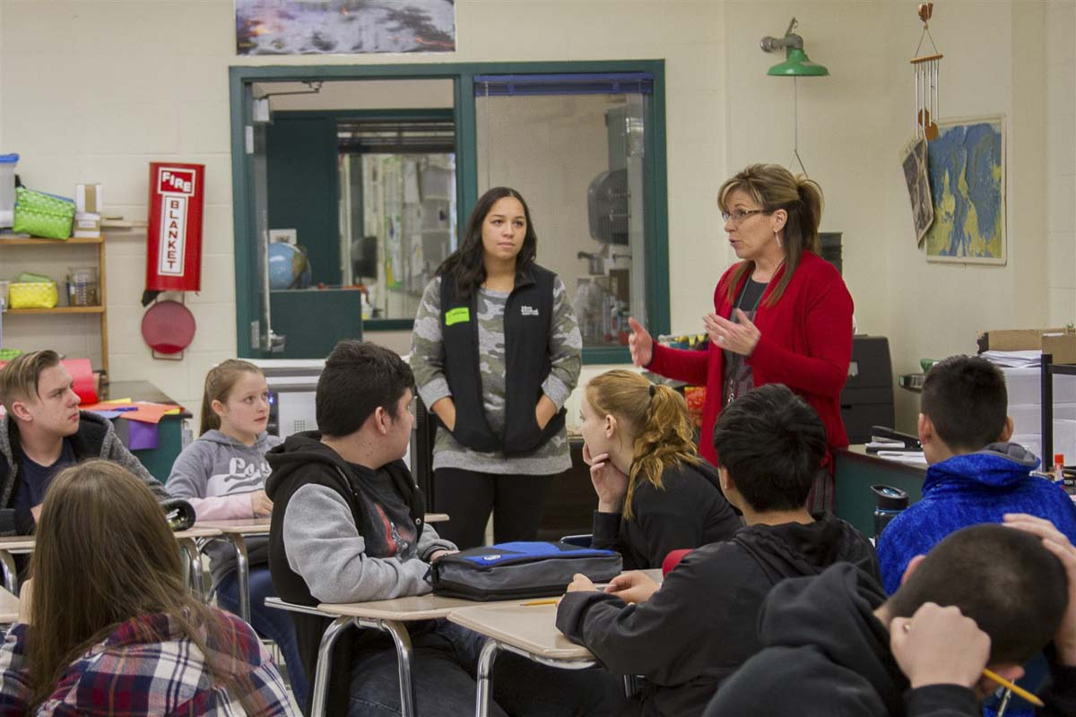 Stacy Mouat, Woodland's Truancy Specialist, spoke with students about the different ways they can earn their high school diploma and the importance of seeking out help. Photo courtesy of Woodland School District