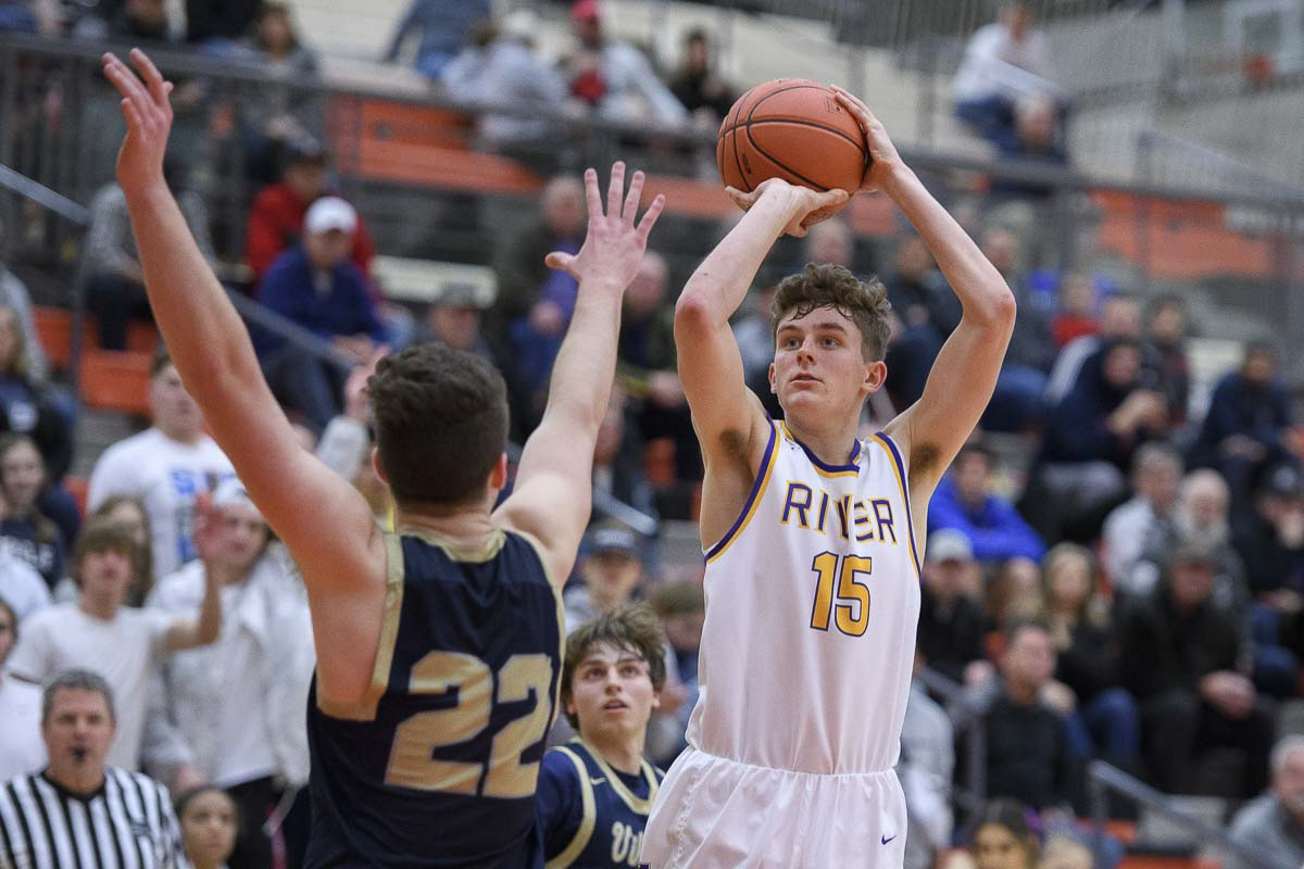Evan Dirksen of Columbia River did so much in helping the Chieftains rally Saturday. He scored 13 second-half points. River's comeback bid fell short, but the Chieftains remain alive in the state tournament. Photo by Ken Waz