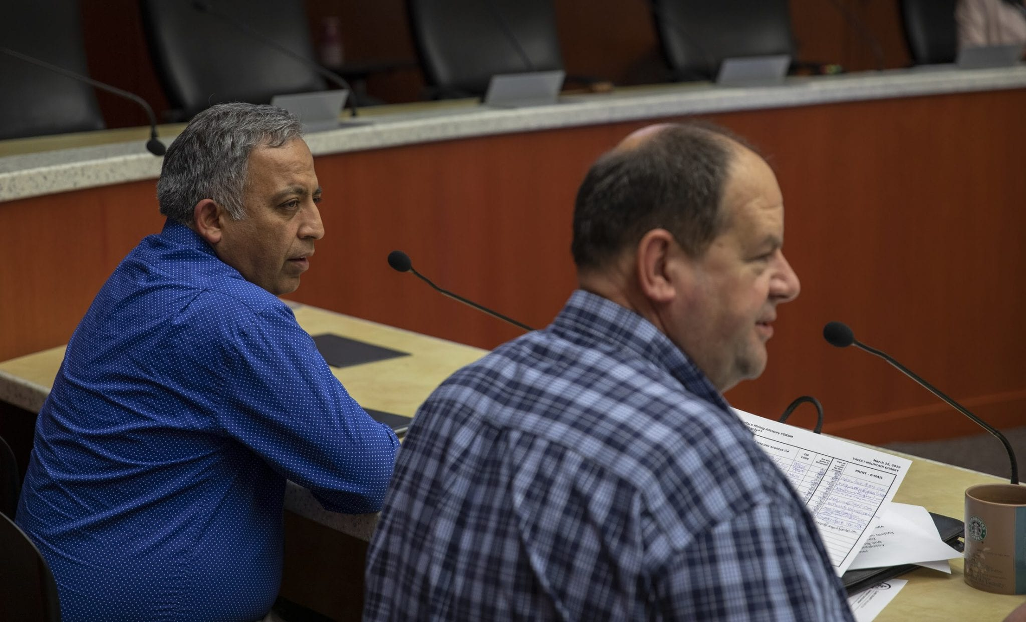 Public Works Director Ahmad Qayoumi (left) and Clark County Community Planning Director Mitch Nickolds (right). Photo by Jacob Granneman