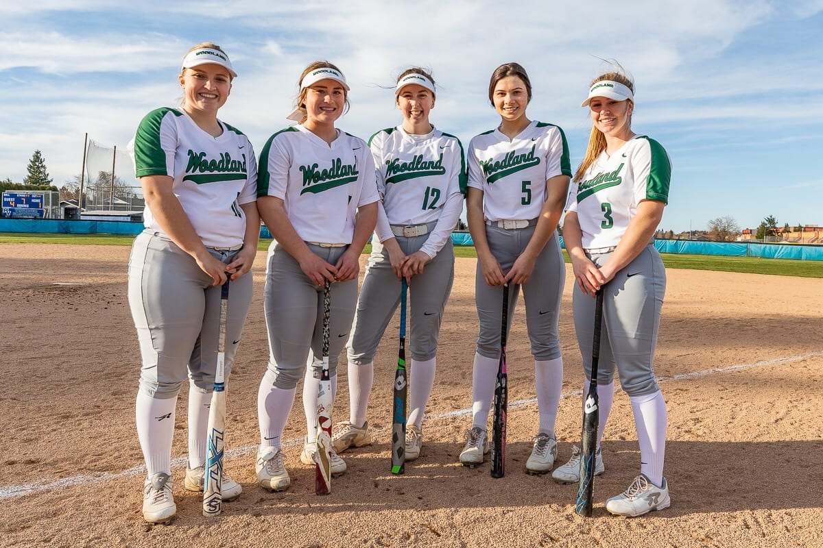 From left to right, Carleigh Risley, Kaily Christensen, Chloe Eddy, Payten Foster, and Kelly Sweyer all hit home runs for the Woodland Beavers in the state tournament last spring. They're back, along with pitching ace Olivia Grey, in hopes of repeating as state champions. Photo by Mike Schultz