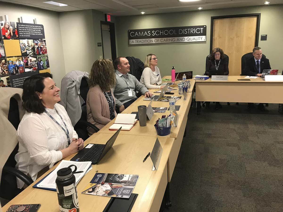 Camas School Board at a recent meeting. Photo courtesy of Lacamas Magazine