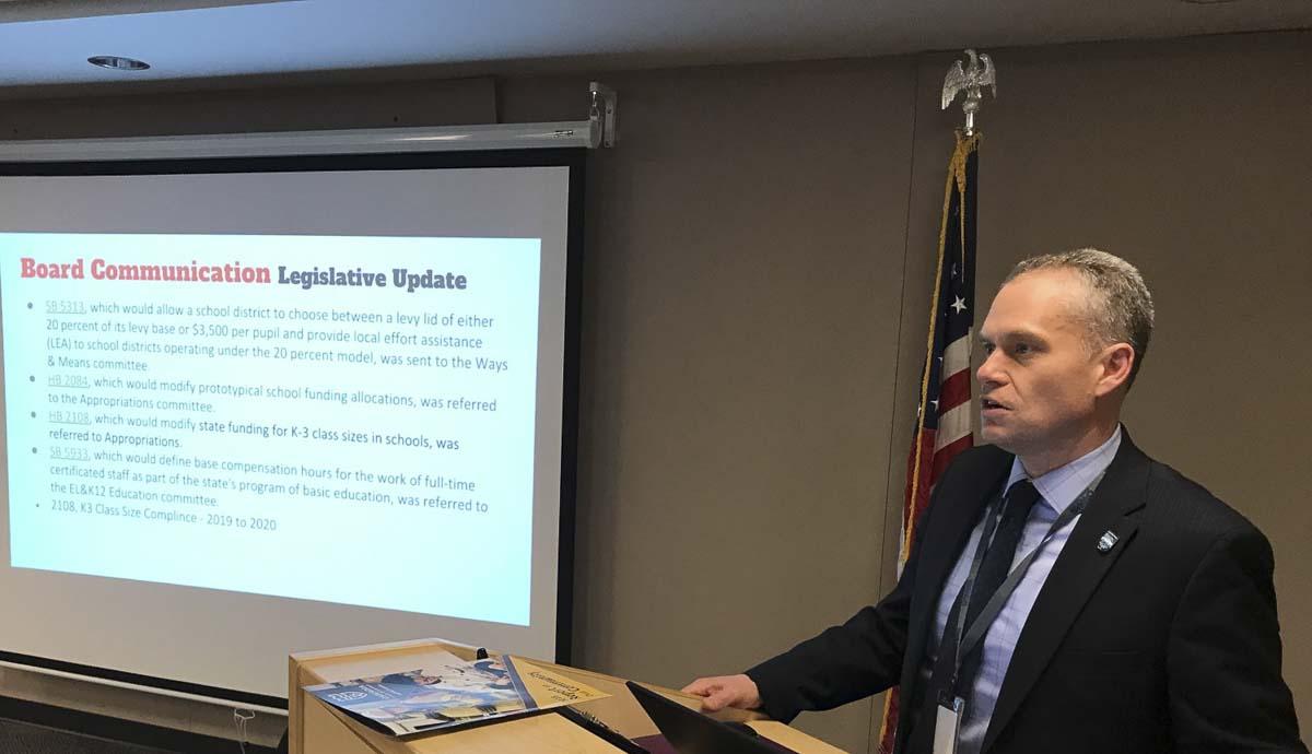 Camas Superintendent, Jeff Snell, discusses legislative updates. Photo courtesy of Lacamas Magazine