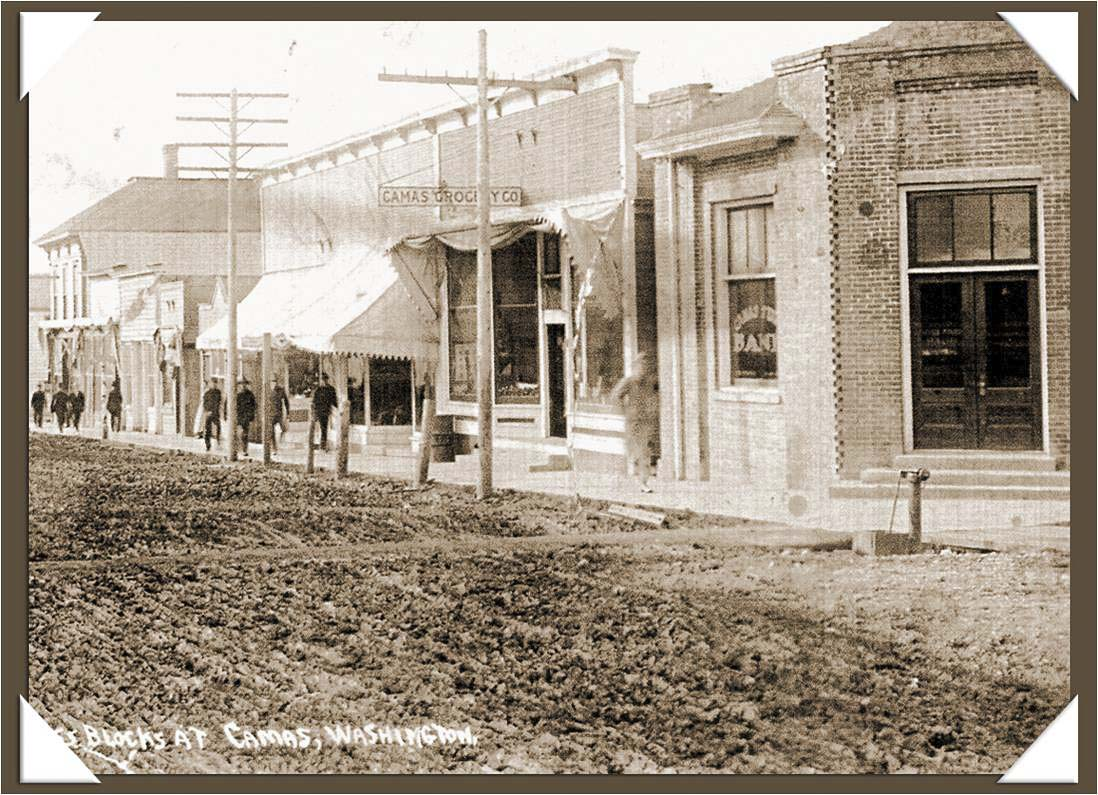 This 1908 photo shows dirt roads in downtown Camas. Photo courtesy of Downtown Camas Association