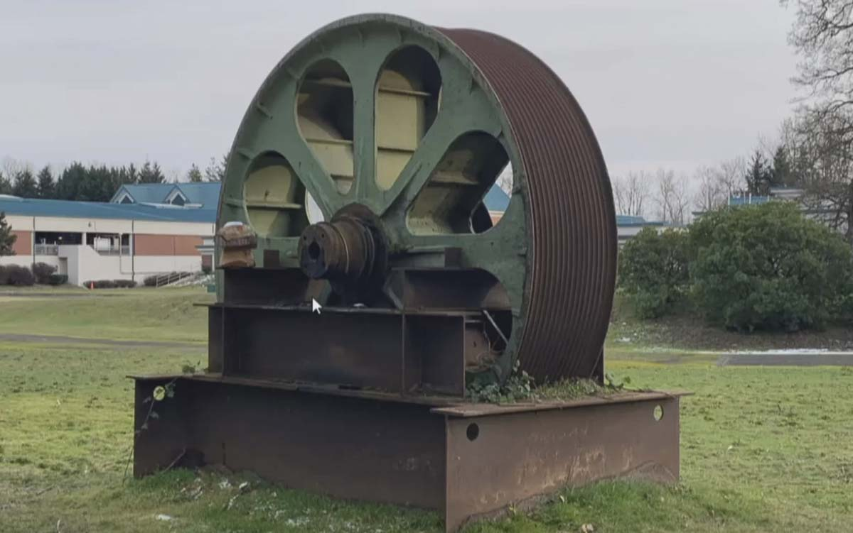 This trunnion, which was replaced in the late 1990s, is on display at Marine Park in Vancouver. Photo courtesy City of Vancouver