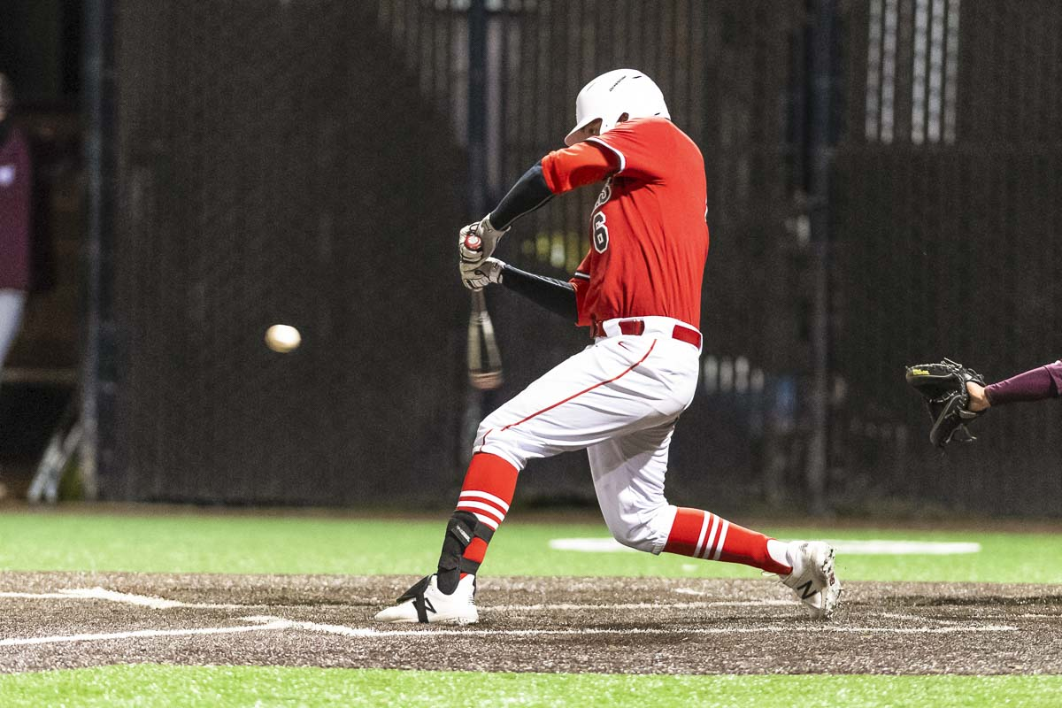 Former Washougal High School standout Ryan Krout is shown here taking a swing for the Pacific University Boxers earlies this season. Photo courtesy of Christopher Oertell