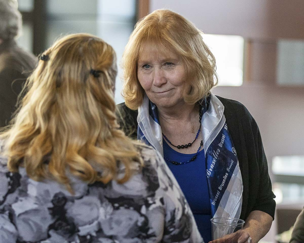 Vancouver Mayor Anne McEnerny-Ogle speaks with a constituent after her 2019 State of the City Address. Photo by Mike Schultz