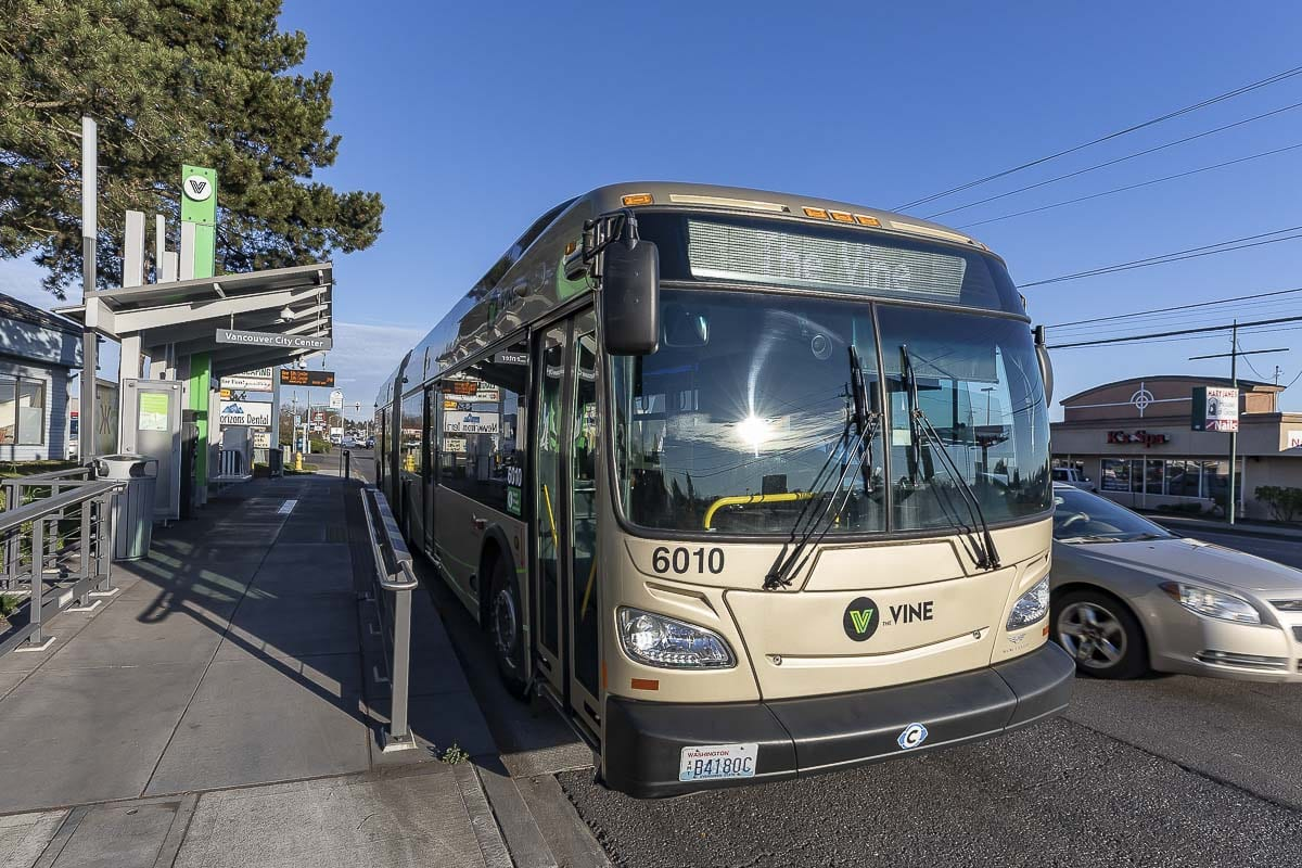 A 40-foot articulated bus is shown here at a stop along the Fourth Plain Vine. Photo by Mike Schultz
