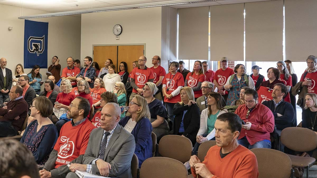 Clark College faculty crowd a Board of Trustees meeting to push for pay increases. Photo by Chris Brown