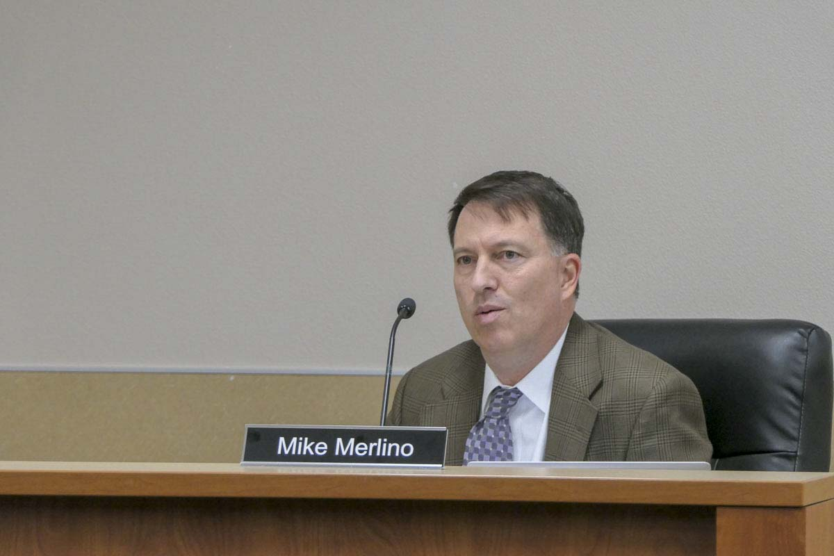 Evergreen School District Interim Superintendent Mike Merlino is shown here at a Board of Directors meeting. Photo by Chris Brown