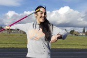 Olympian encourages Heritage athlete to soar with javelin