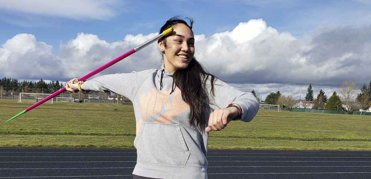 Heritage sophomore Katie Peneueta was not sure she was going to compete in track and field this year, but then she got an inspiring message from the American javelin record holder Kara Winger, a former Skyview standout. Photo by Paul Valencia