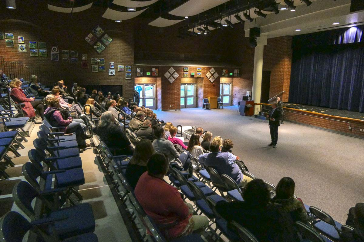 Dozens attended a public forum to hear from four finalists to be the next superintendent of the Hockinson School District. Photo by Chris Brown