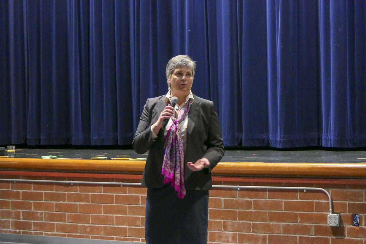 Ellen Perconti, a finalist for Hockinson schools superintendent, answers questions during a public forum at the high school. Photo by Chris Brown