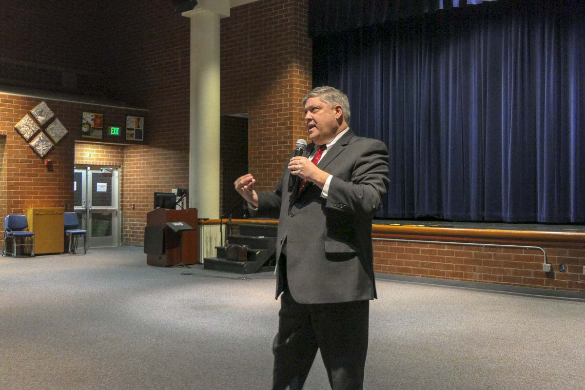 Tony VanderMaas, a finalist for Hockinson schools superintendent, answers questions during a public forum at the high school. Photo by Chris Brown
