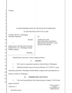 A copy of a countersuit complaint filed in Clark County Superior Court by the county, seeking to prove a 2004 lease agreement with PVJR to operate the Chelatchie Prairie rail line is invalid.