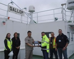 The Port of Vancouver USA welcomed the M/V Gallop, commanded by Capt. Choi Jung-Hoon of South Korea, on her maiden voyage to the U.S. Feb. 28. Photo courtesy of Port of Vancouver