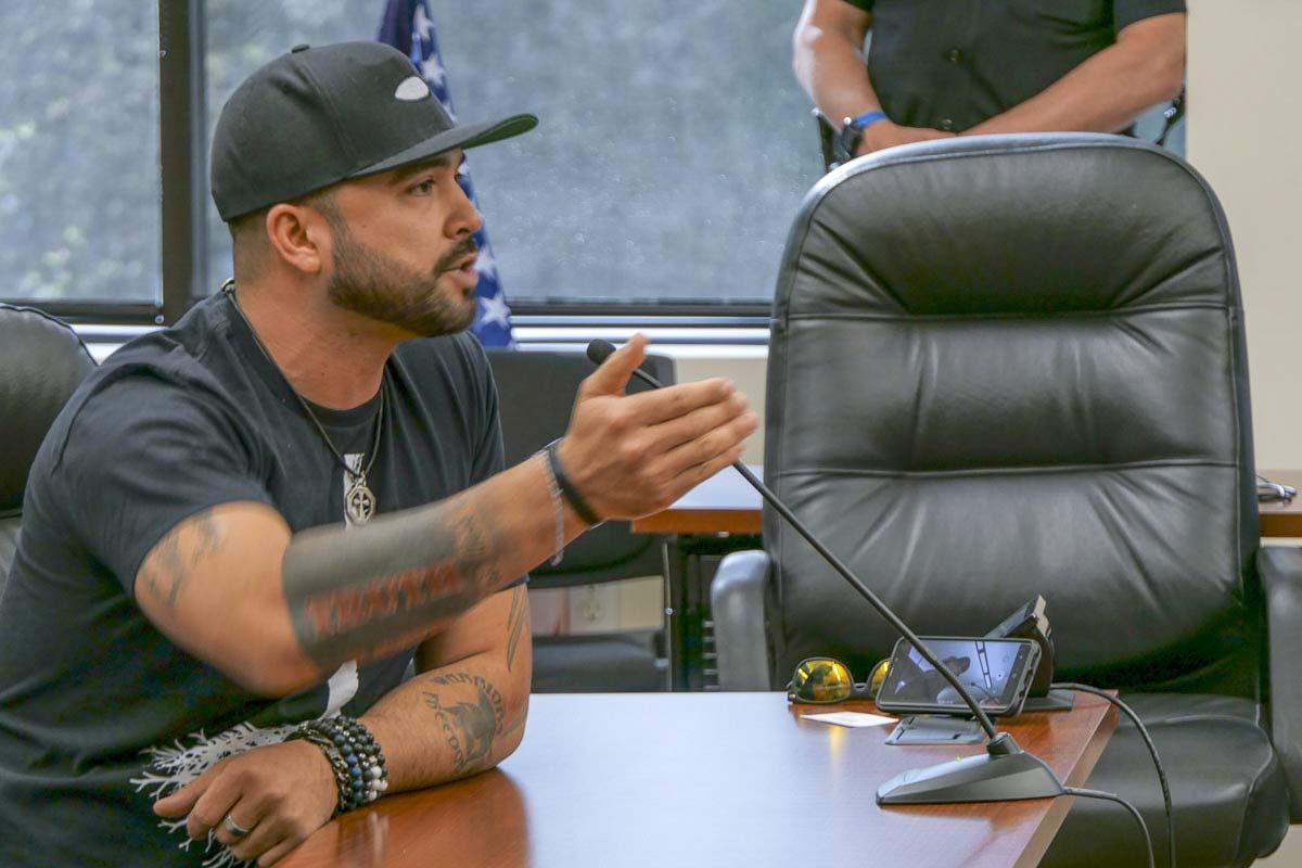 Joey Gibson of Patriot Prayer responds to an appeal of his group's right to use Kiwanis Park in Battle Ground for an event this weekend. Photo by Chris Brown