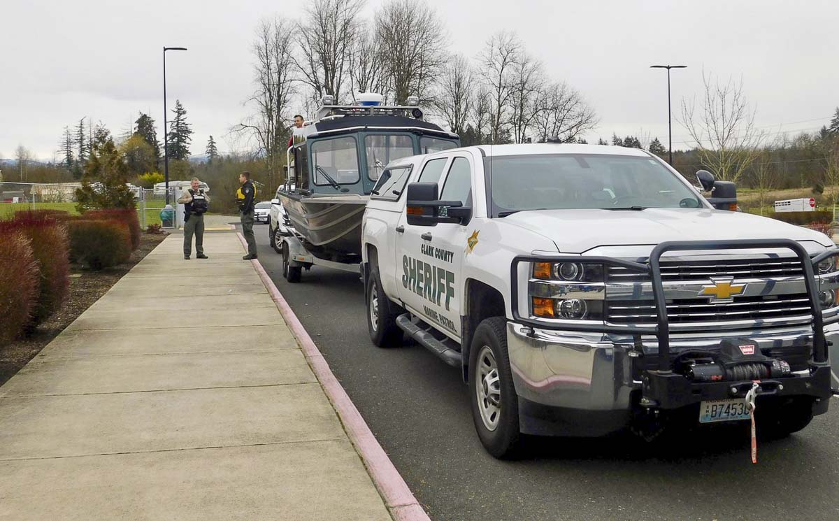 Police Activities League officers brought a line of vehicles for Ridgefield students to tour, including cruisers and a boat. Photo courtesy of Ridgefield School District