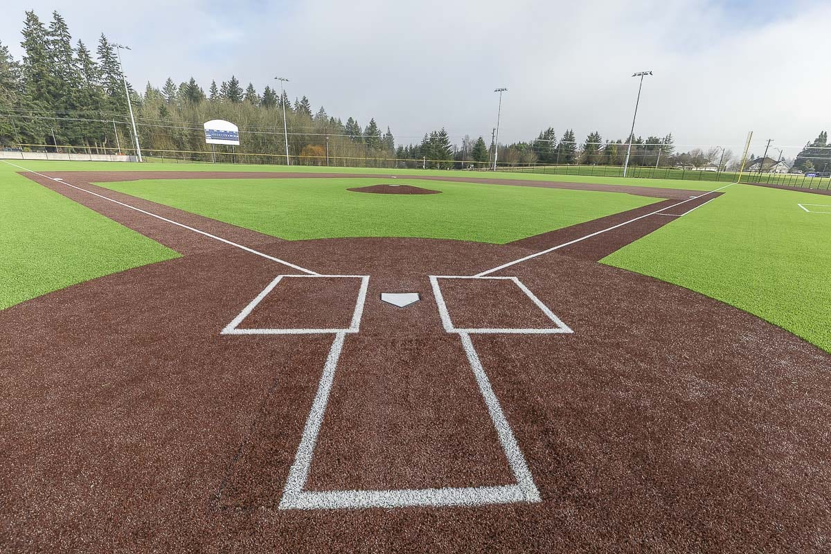 Batter up! The Ridgefield Spudders will play their first game on their new field at 5 p.m. Friday, with a pre-game ceremony at 4:40 p.m. A jamboree featuring three teams will begin at noon Friday. On Saturday, 11 high school baseball teams will take to the field for a jamboree. Photo by Mike Schultz