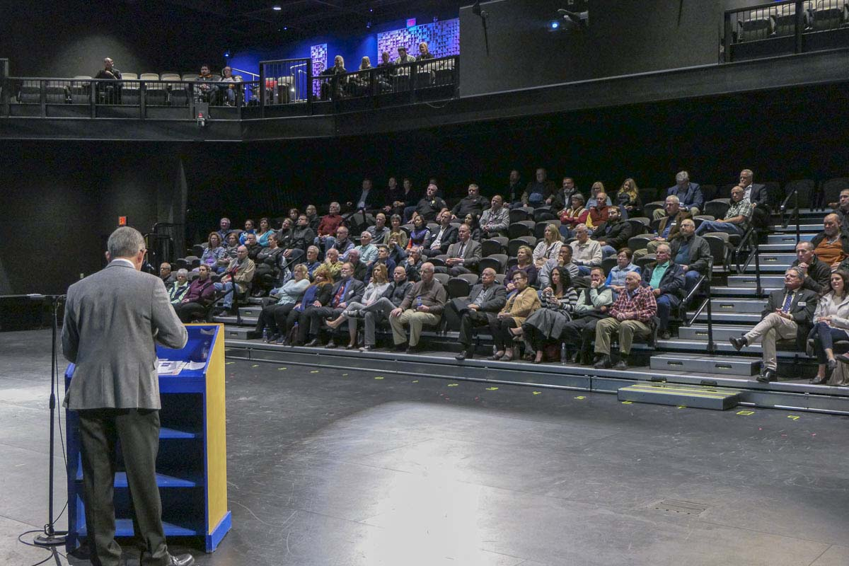 Ridgefield Mayor Don Stose delivers his State of the City address at the high school's Performing Arts Center. Photo by Chris Brown