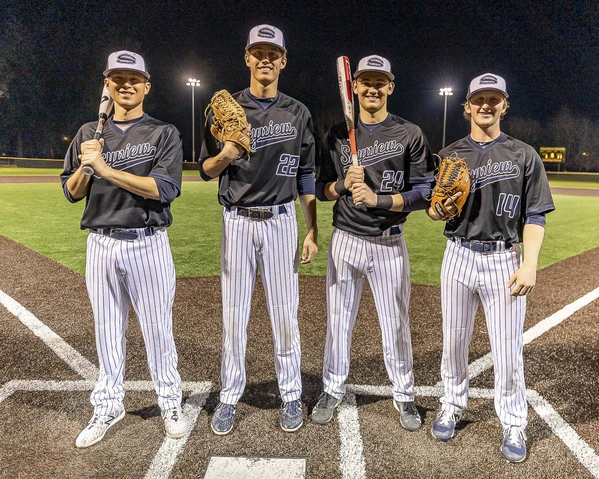 From left to right, Skyview seniors Liam Kerr, Lowell Dunmire, Ryan Pitts, and Alex Miller all realized that playing at a two-year college program was the perfect fit for them. They all expect to play at four-year programs in the future, but community college baseball is the place to start. Photo by Mike Schultz