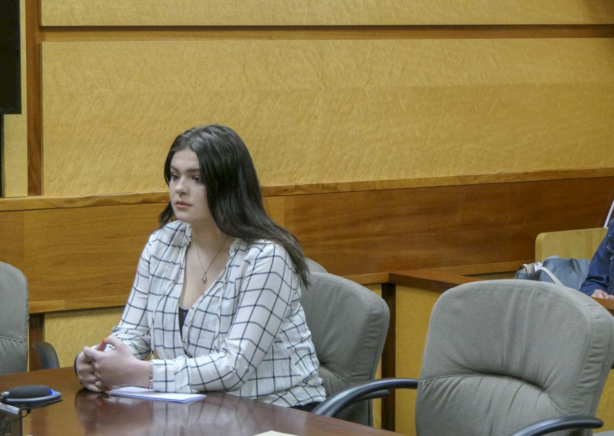 Nineteen-year-old Taylor Smith awaits sentencing inside the Clark County courthouse on Wednesday. Photo by Chris Brown