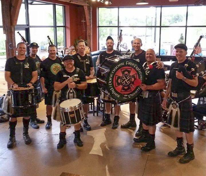 The Vancouver Firefighters Pipe & Drum group play pipes and drums to honor the Firefighters who have made the ultimate sacrifice in the line of duty. Photo courtesy of Mill Creek Pub