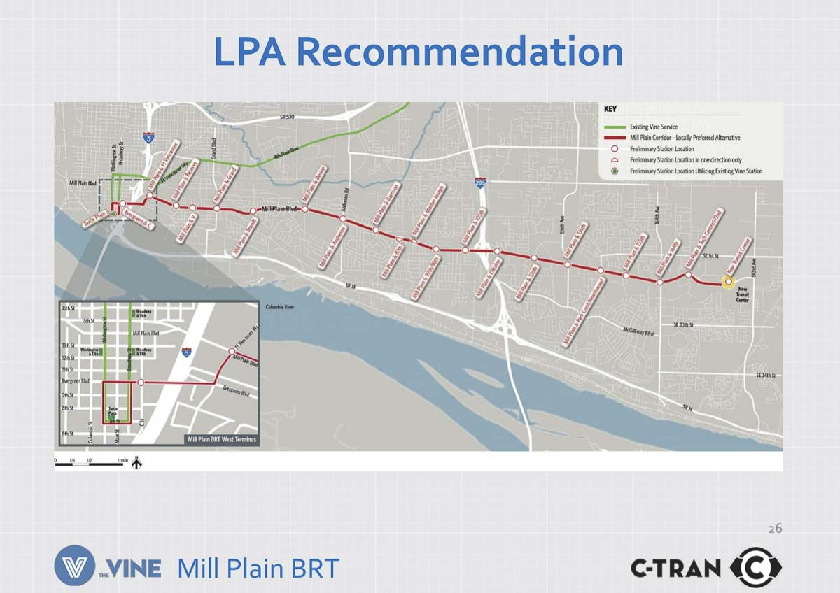 This graphic shows the Locally Preferred Alternative route for the new Mill Plain Vine route approved by the C-TRAN board on Tuesday. Image courtesy C-TRAN