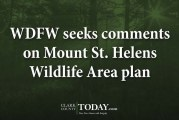 WDFW seeks comments on Mount St. Helens Wildlife Area plan