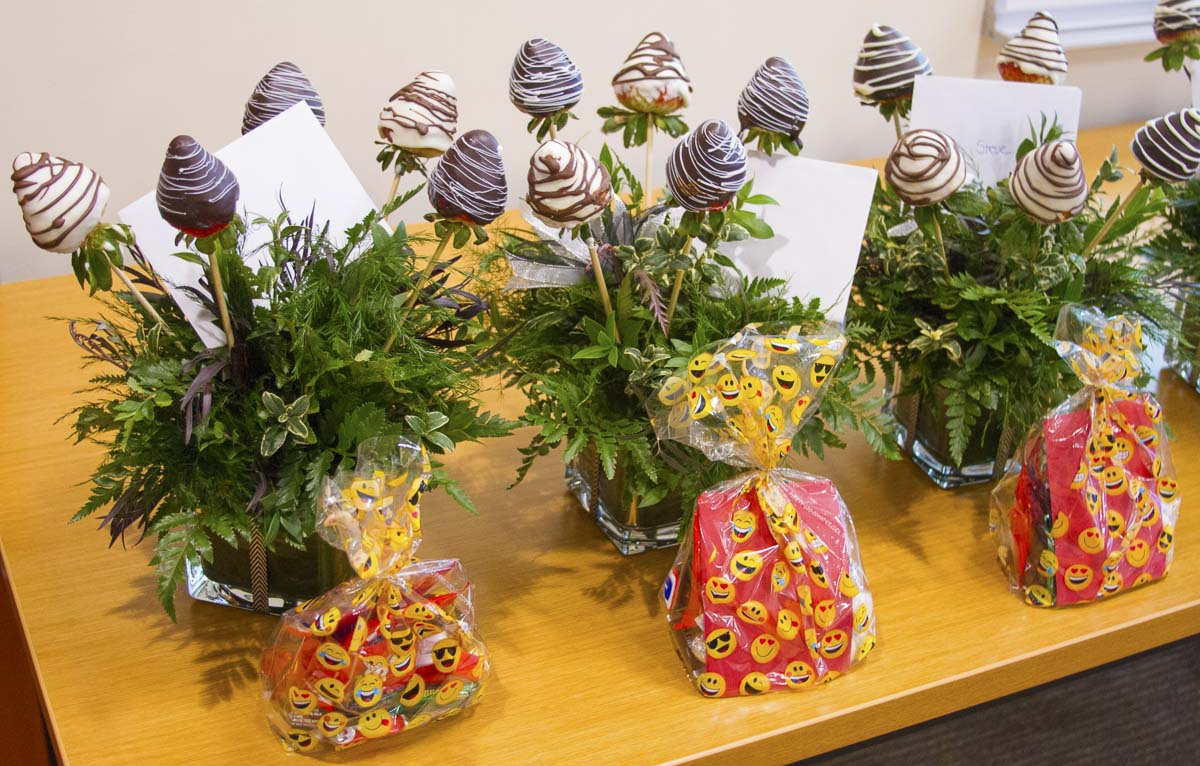 Woodland High School Horticulture students created special gift baskets for each school board member. Photo courtesy of Woodland School District