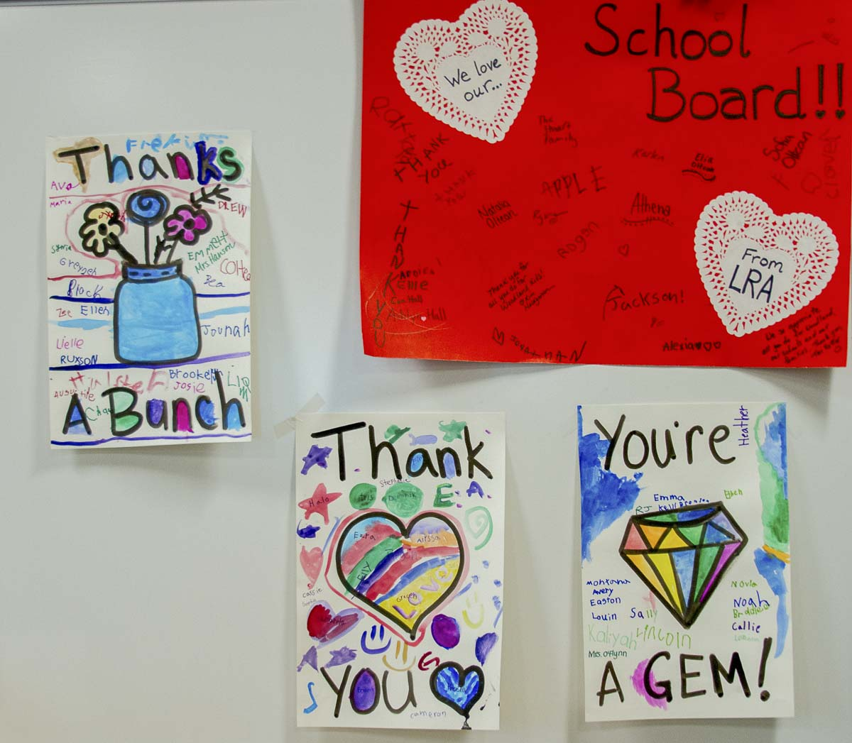 Students and staff from each Woodland school created banners to thank the board members. Photo courtesy of Woodland School District