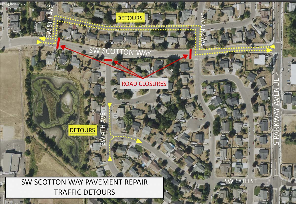 SW Scotton Way in Battle Ground, between SW 2nd and SW 5th Avenues, will close to traffic on Tue., March 19 and Wed., March 20 as crews work to make repairs to the pavement. Map courtesy of city of Battle Ground