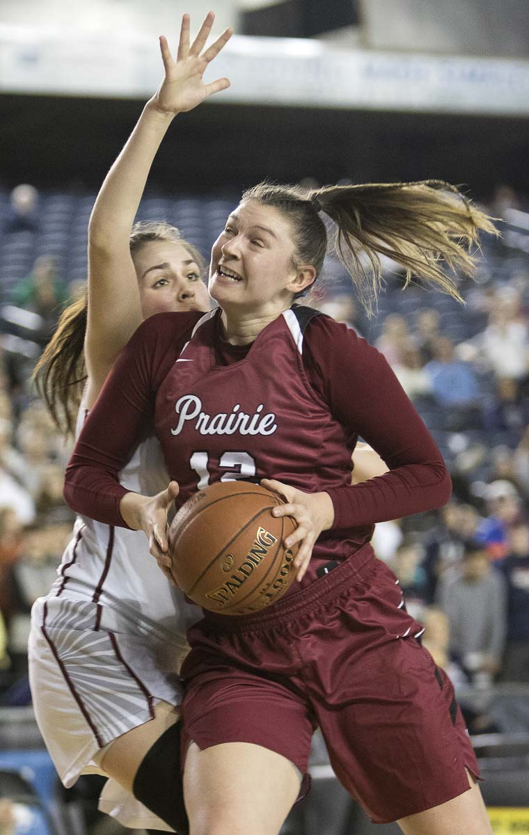 Prairie's Brooke Walling was 7 of 9 from the floor and scored a game-high 17 points in the Class 3A state girls basketball championship game. Prairie won 37-35. Photo by Patrick Hagerty