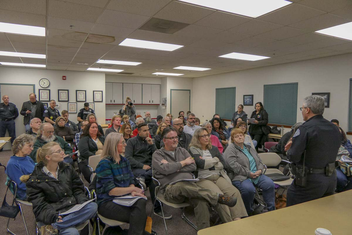 A packed house at Fire District 9 in east Vancouver to hear VPD Chief James McElvain talk about recent officer-involved shootings. Photo by Chris Brown