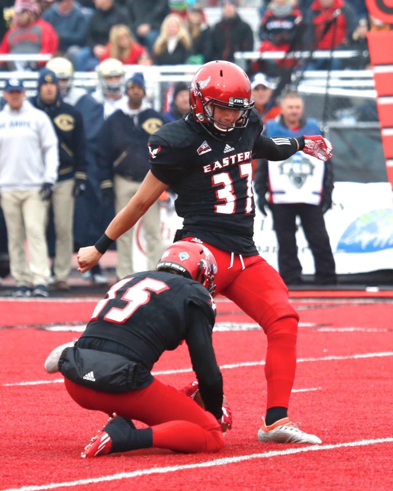 Former Camas kicker Roldan Alcobendas, who recently finished his award-winning career at Eastern Washington University, is hoping to get a camp invite to an NFL team. He was not drafted last week, but is hoping to sign with a franchise soon. Photo courtesy Eastern Washington University athletics.