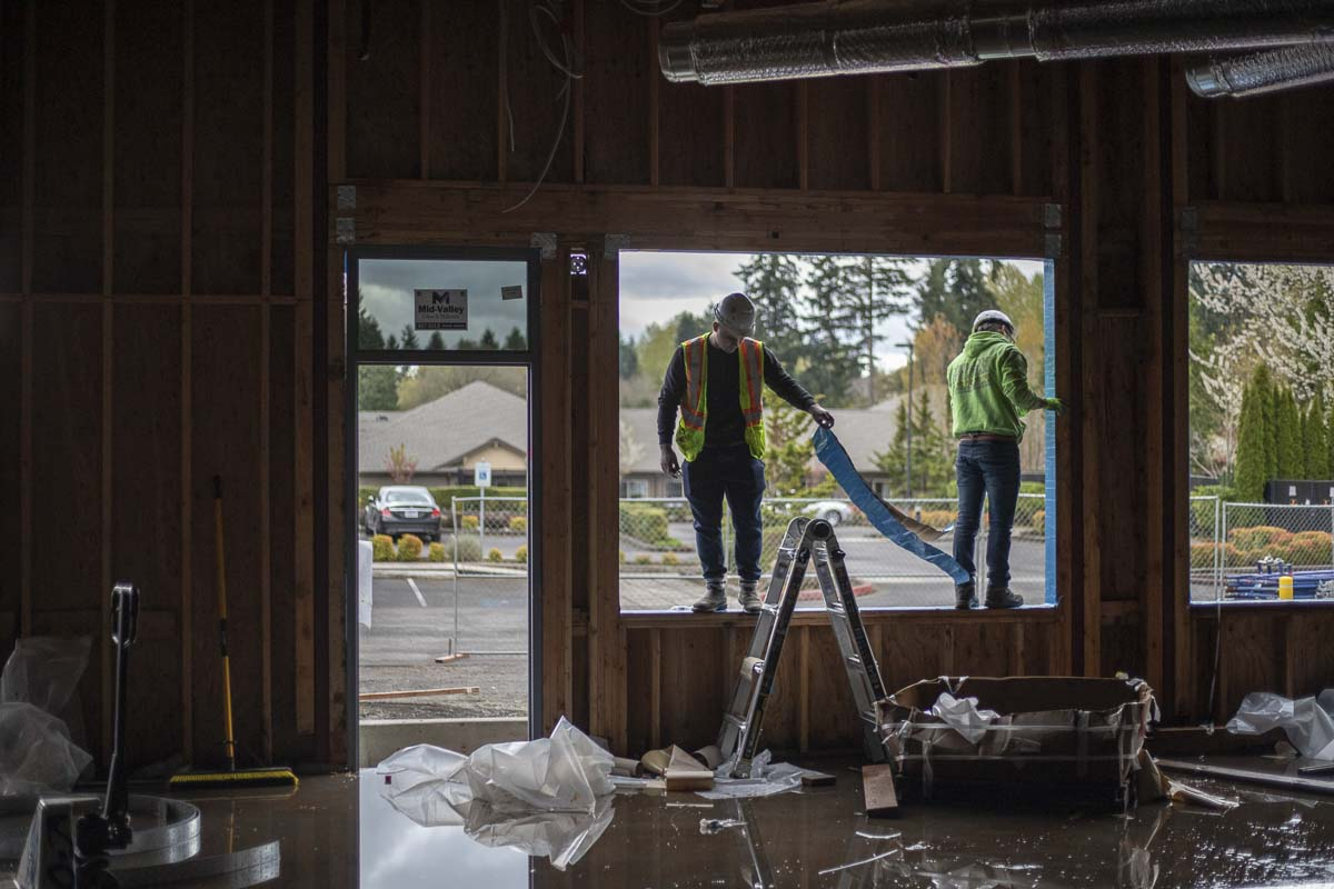Builders will install windows on the new Kiddie Academy facility very soon, allowing them to move on towards roofing the over 11,000-square-foot building. Photo by Jacob Granneman