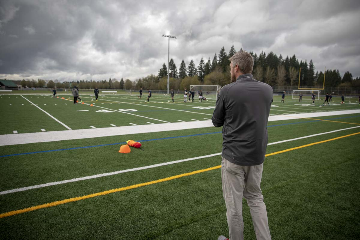 During many practices and games, Kraayeveld watches from the sidelines, ready to diagnose and assist any injured player. Photo by Jacob Granneman